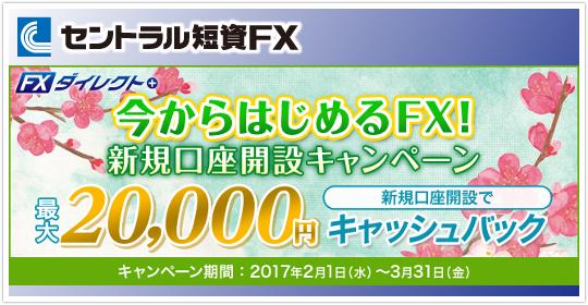 セントラル短資FX最大20000円新規口座開設キャンペーン!イメージ