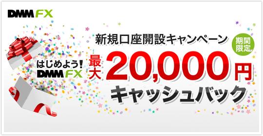 DMM FXは最大2万円キャッシュバックに!