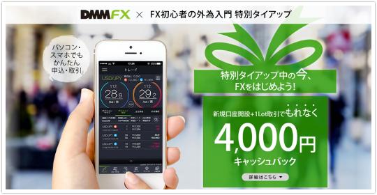 DMM FXは限定タイアップで最大2万4000円キャッシュバックに!イメージ