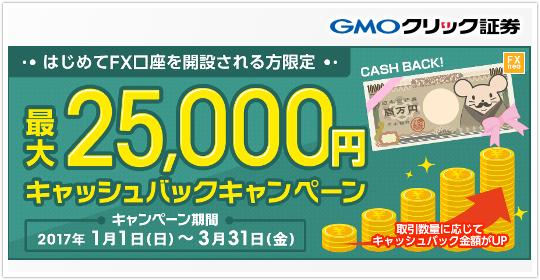 GMOクリック証券最大2万5000円バックキャンペーン!