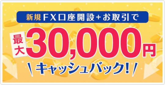GMOクリック証券もれなく30000円キャッシュバック実施中!