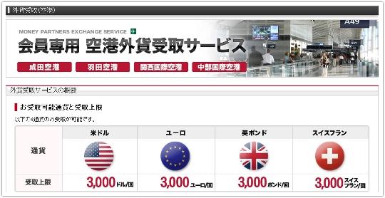 外貨受取(空港)を選択後に表示される画面