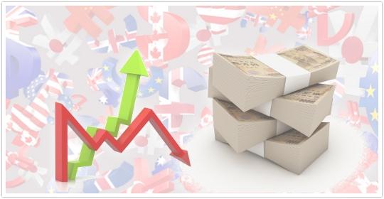 日本株が下落しているのに円が上昇しているイメージ