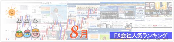 FX会社人気ランキング 2015年8月版イメージ
